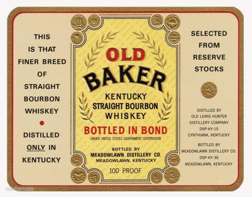 Old Baker Bourbon Label