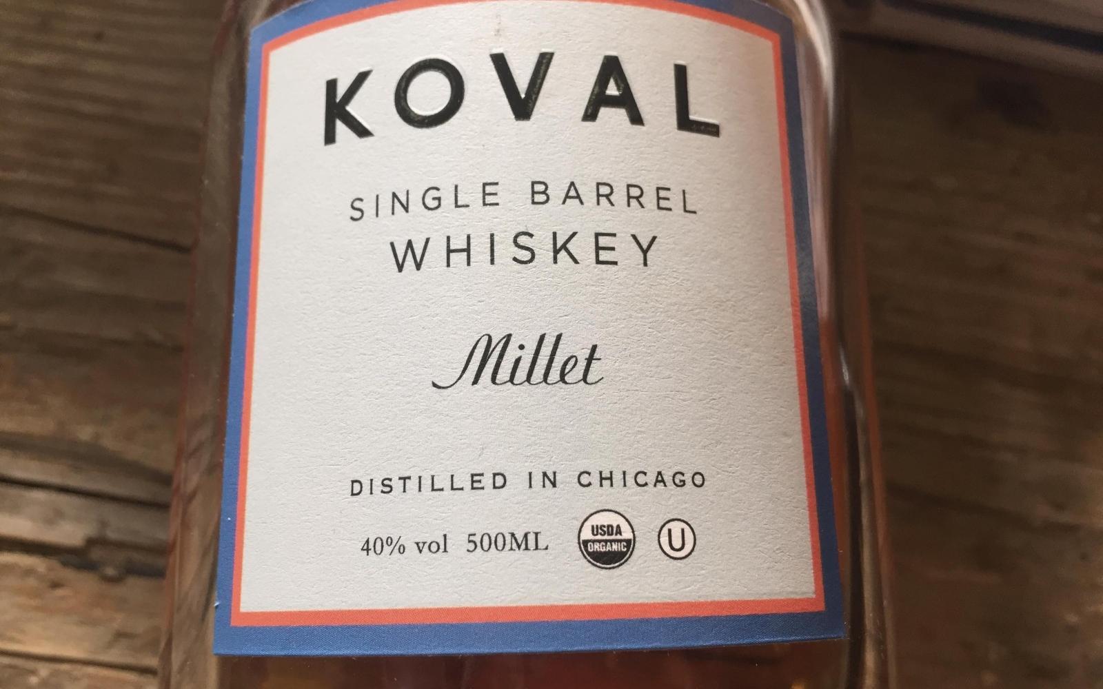 Koval Single Barrel Whiskey with USDA organic (Kosher) symbol.