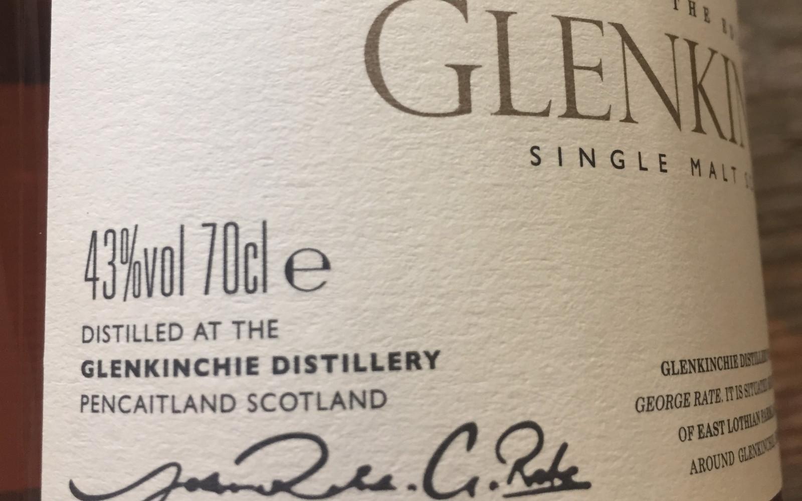 Glenkinchie 12 YO - 43% ABV and 700ml bottle size
