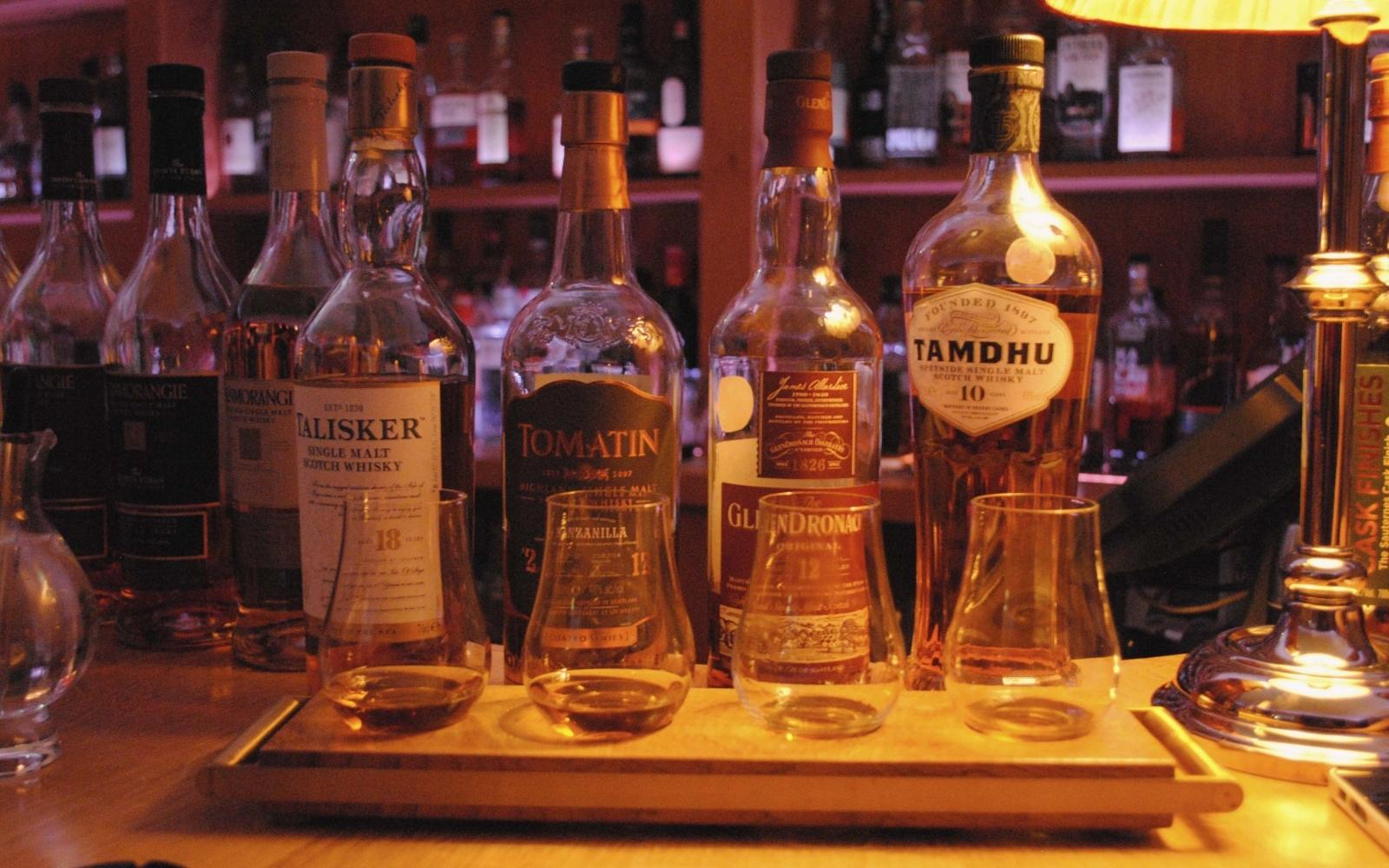 A personalised Whisky flight from the bar.
