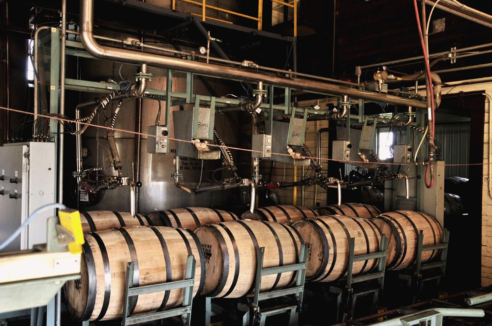 8 barrels waiting to be filled with 53 gallons of 115 proof golden liquid at WIld Turkey - Photo: Flickr / Eaton Detroit Spring