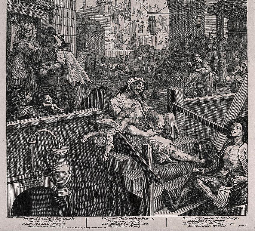Not everyone was excited. In this nightmare vision of a London street, drawn in 1751, William Hogarth condemns the craze for Gin by depicting the poor drinking themselves to death.