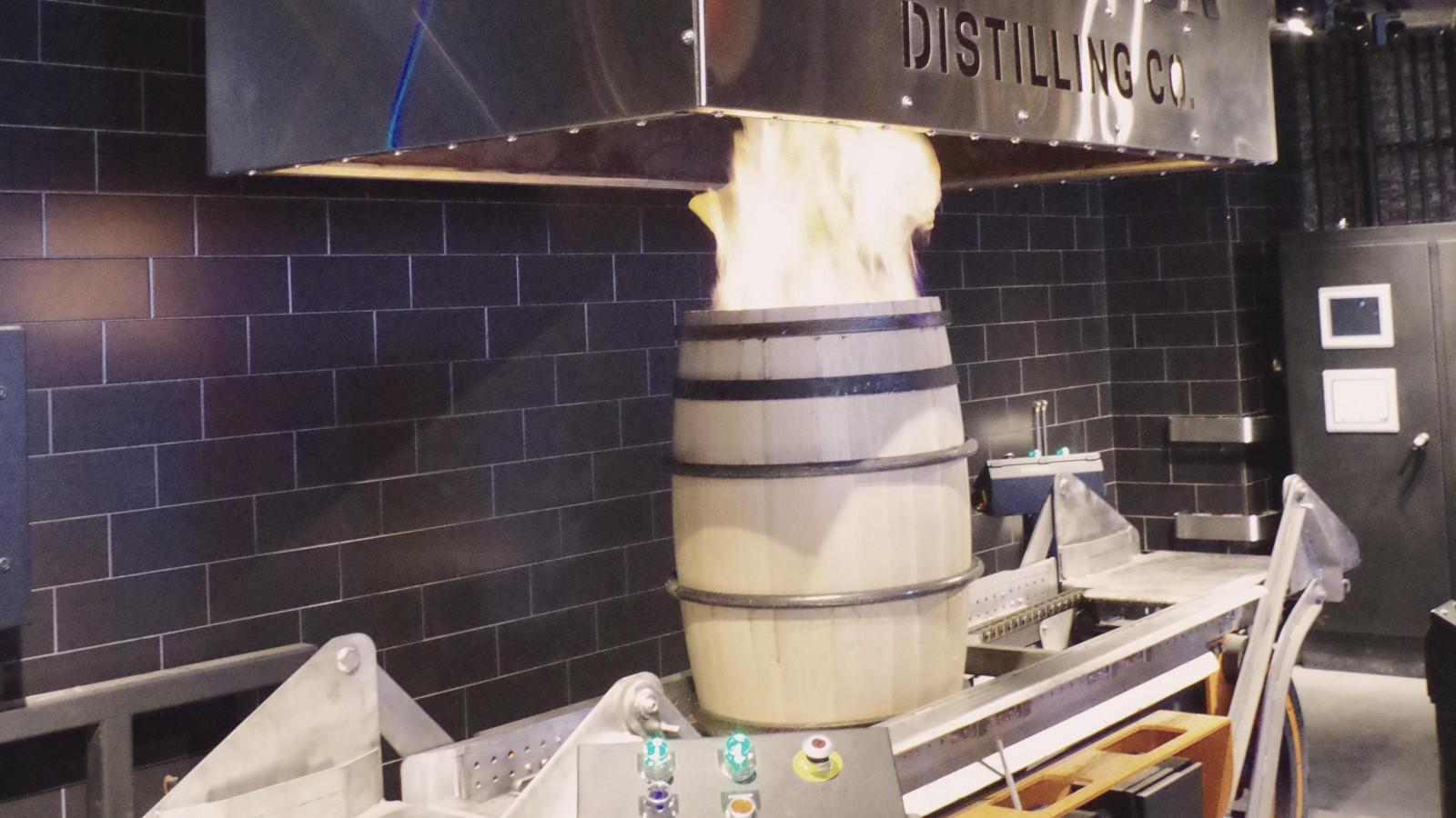 Barrel charring during the distillery tour. Photo: Maggie Kimberl