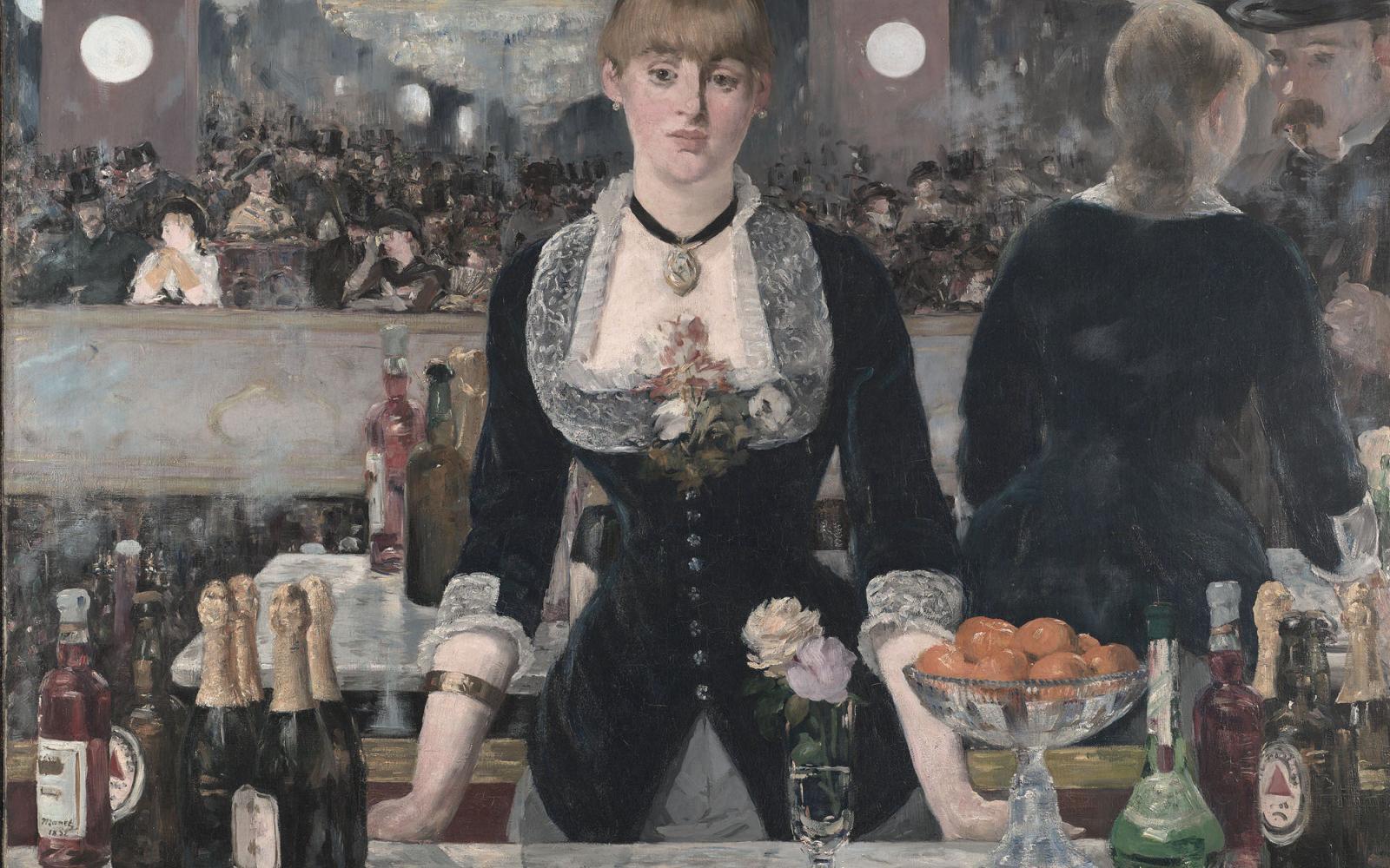 """""""Un bar aux Folies Bergère"""" by E. Manet painted in 1882 depicts a scene in the Folies Bergère nightclub in Paris. Source: Wikimedia"""