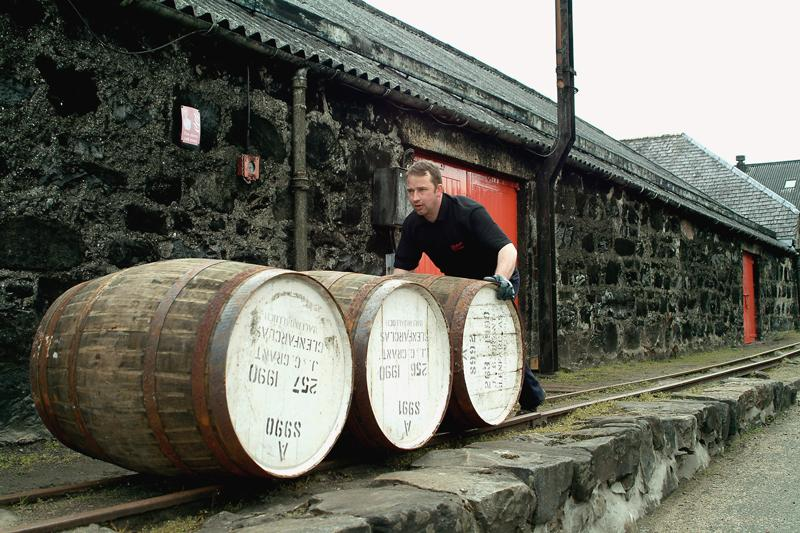 Cask Rolling at Glenfarclas - Photo: Glenfarclas Distillery