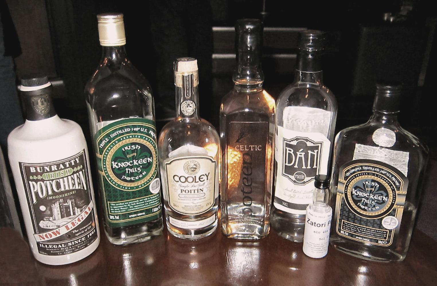 A Selection of Legal Irish and Celtic Poitin. Source: Ethanbentley/Wikimedia