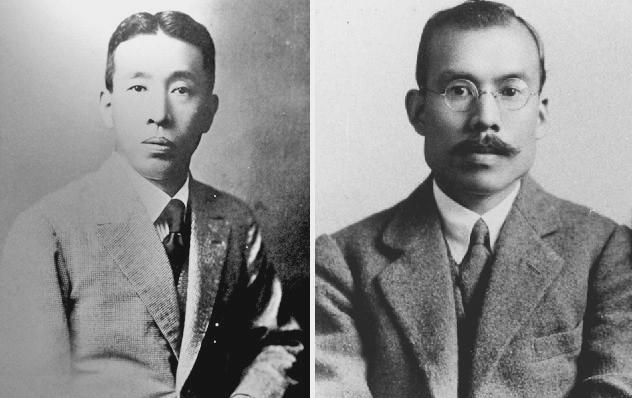 Shinjiro Torii (left) and Masataka Taketsuru. Photo: bevvy.co