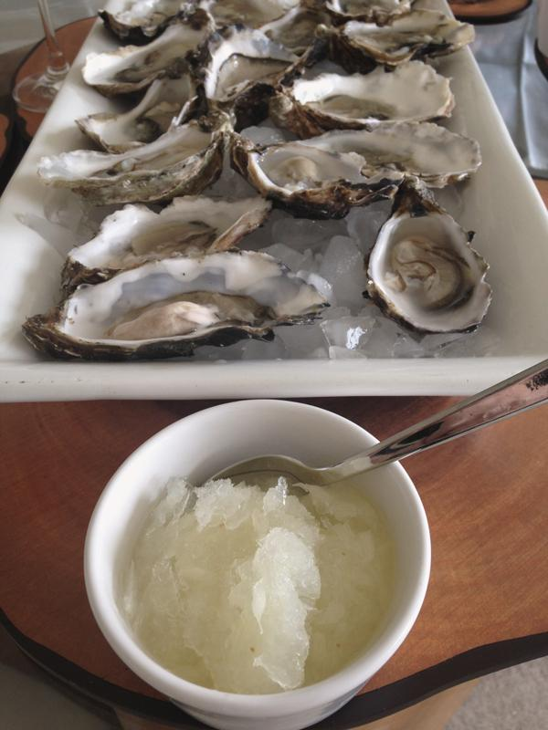 Gin and grapefruit granita with oysters