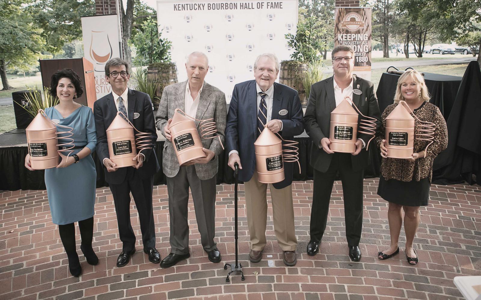 2019 recipients: Peggy Noe Stevens (left), Larry Kass, Even G. Kulsveen, Charles W. Medley, Wesley Henderson, and Katrina Egbert. Photo: The Bourbon Hall of Fame