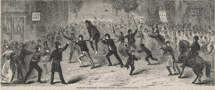 Famous Whiskey Insurrection in Pennsylvania. The poor guy riding the rail is a tarred and feathered tax collector. Source: Wikimedia