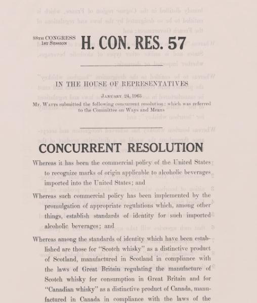 The resolution designating Bourbon as a distinctive product of the US. Source: house.gov.si